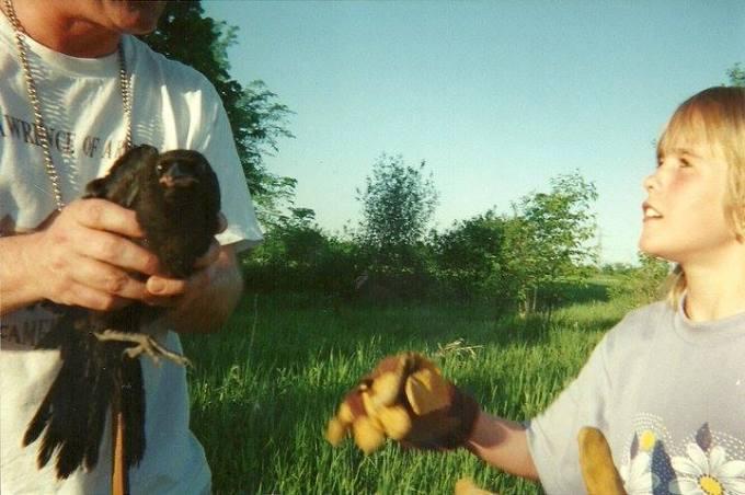 dad handing Elizabeth the crow    Life After Elizabeth