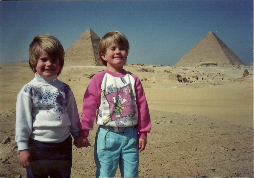Elizabeth and Kimberly at the Pyramids in Cairo